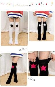 Image 5 - Baby Grils Star Love Knee High Socks Football Stripes Cotton School White Black Socks Skate Children Long Tube Leg Warm 1.3kg#43
