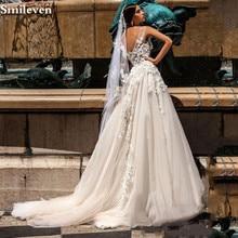 Smileven Backless Wedding Dress Boho 2020 3D Appliques A Line Bridal Gowns Robe de soriee Turkey