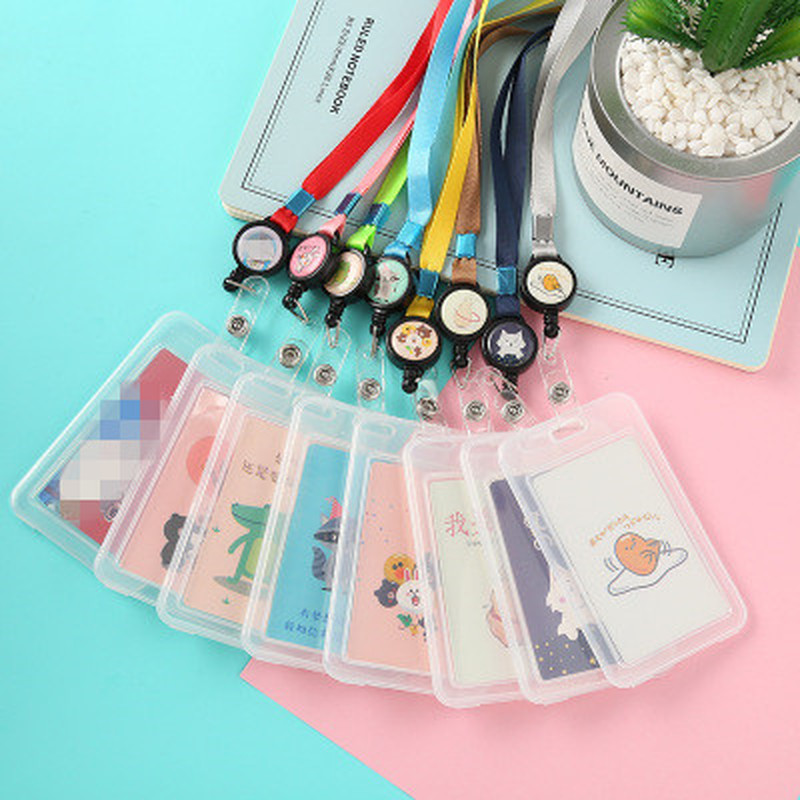 Case Card-Holder Id-Badge-Holders-Accessories Lanyard Id Badge Clear Transparent Cartoon
