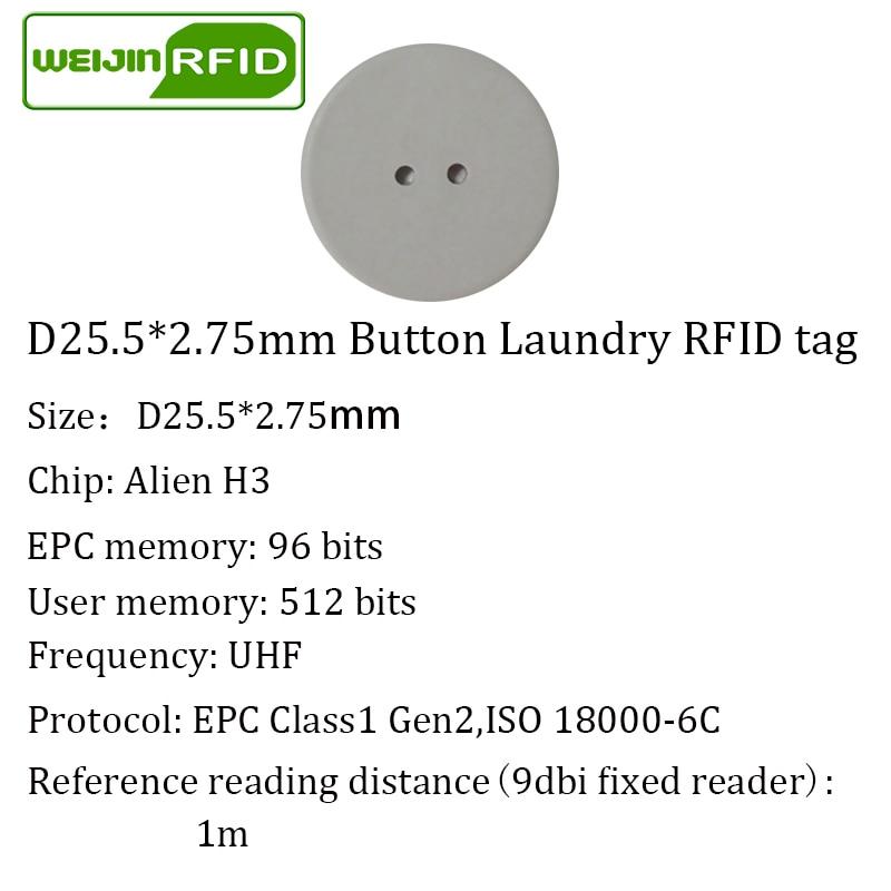 Купить с кэшбэком UHF RFID tag laundry PPS button Washable heat resisting 915m 868m 860-960M Alien Higgs3 EPC Gen2 6C smart card passive RFID tags