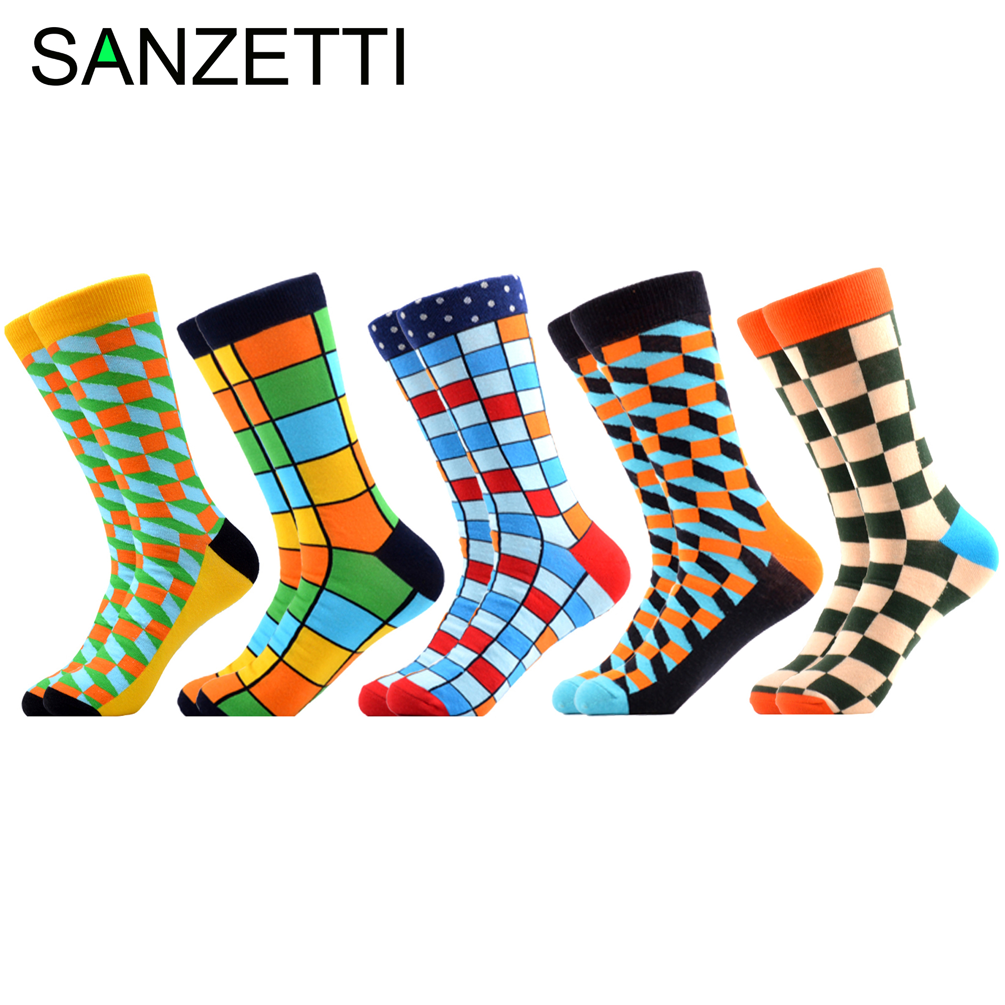 SANZETTI 5 Pair/Lot Colorful Men's Casual Combed Cotton Wedding Happy Crew Socks Funny Hip Hop Novelty Bright Plaid Dress Socks