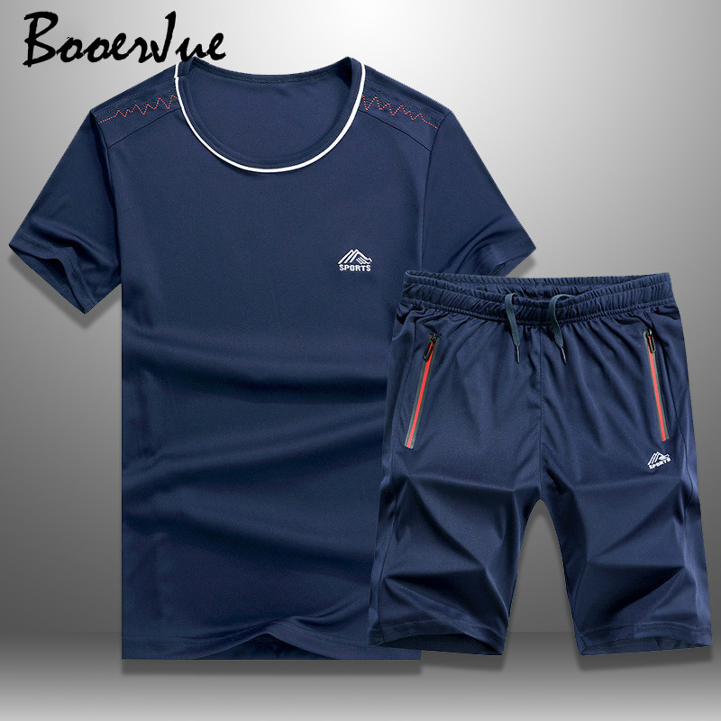 Men Tracksuit Set Summer Casual Sporting Quick-Drying Short Sets Men T Shirts + Shorts Sweatsuit 2 Piece Set Track Suit M-6XL