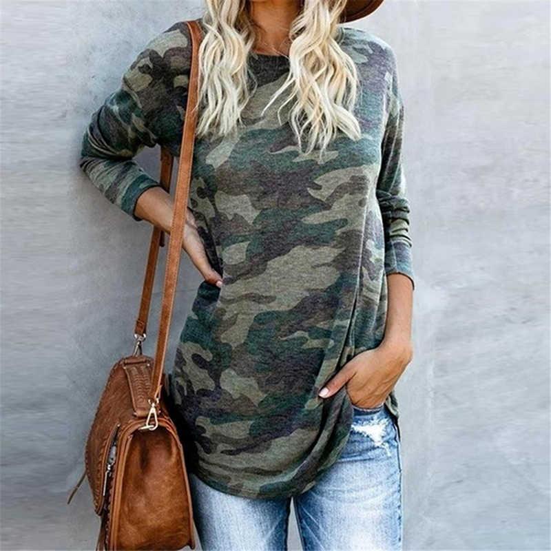 Feminino casual com decote em v camuflagem militar camo camisa de manga longa camiseta senhoras topos t