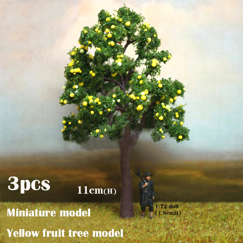 Miniature Model  Yellow Fruit Tree Model 3pcs DIY Sand Table Military Train Scene Model Material