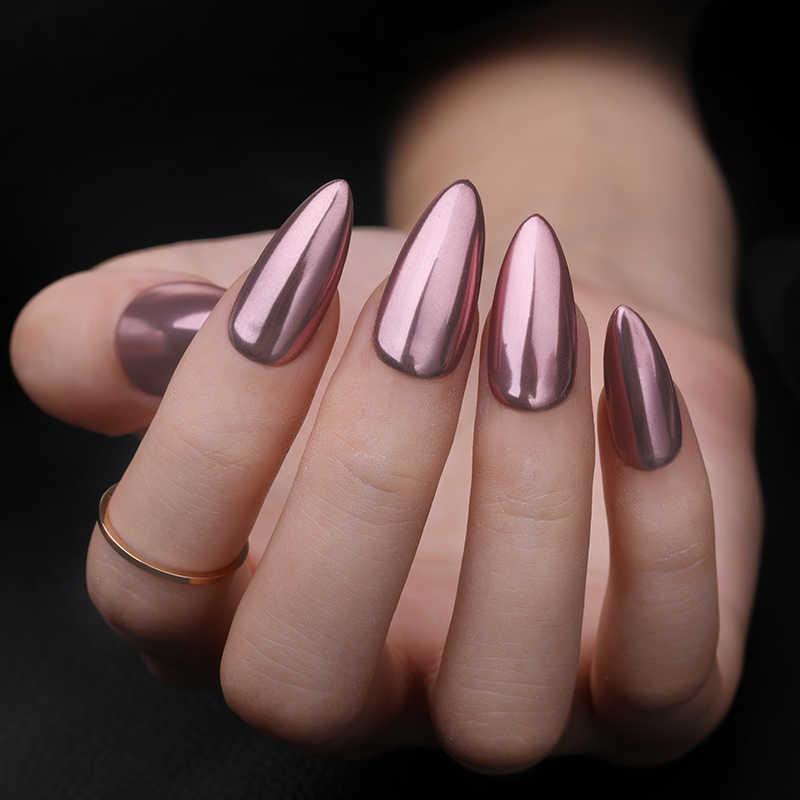 1 Caja De Polvo Con Brillo Para Uñas Champaña Rosa Dorado 24 Colores De Uñas De Efecto Espejo Decoración Pigmento Cromado Con Polvo
