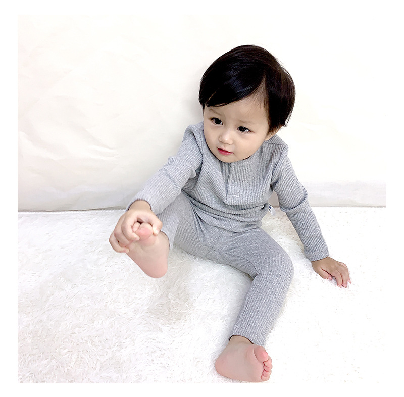 Soft Ribbed Toddler Girl Pajamas For Baby Boys Clothes Set Autumn Winter Children Outfits Long Sleeve Tops Pants 2 Pcs Kids Suit (12)