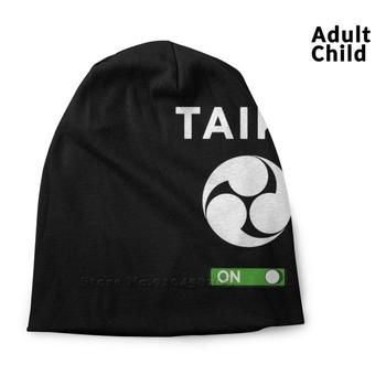 Taiko Mitsudomoe White Mode On Graphic Design Personality Hip Hop Head Caps Beanie Hats Bonnet Taiko Taiko Lovers Musicians image