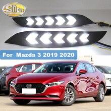 2pcs Led DRL for Mazda 3 Axela 2019 2020 12V LED Car DRL Driving Daytime Running Light fog Lamp with Turn Signal Lamp стоимость