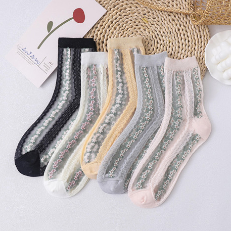 Spring And Summer New Socks Female Japanese Cotton Floral Glass Silk Ladies Tube Socks Small Fresh Fashion Socks