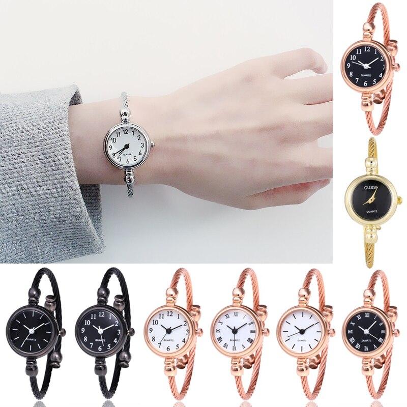 נשים קוריאני חדש שעון צמיד תכשיטי שעון צדדי פשוט אופנה קטן חיוג ילדה גבירותיי שעון