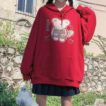 Girls Loose Hoodies Female Adorable Bear Cartoon Sweatshirts Teen Girls Sweet Pullovers Kawaii Cartoon Tops Clothes for Women yuki araki sew sweet handmade clothes for girls