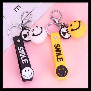 New creative Smiley face Airpods trailer car key chain Chick charm bag key chain accessory lover key chain image
