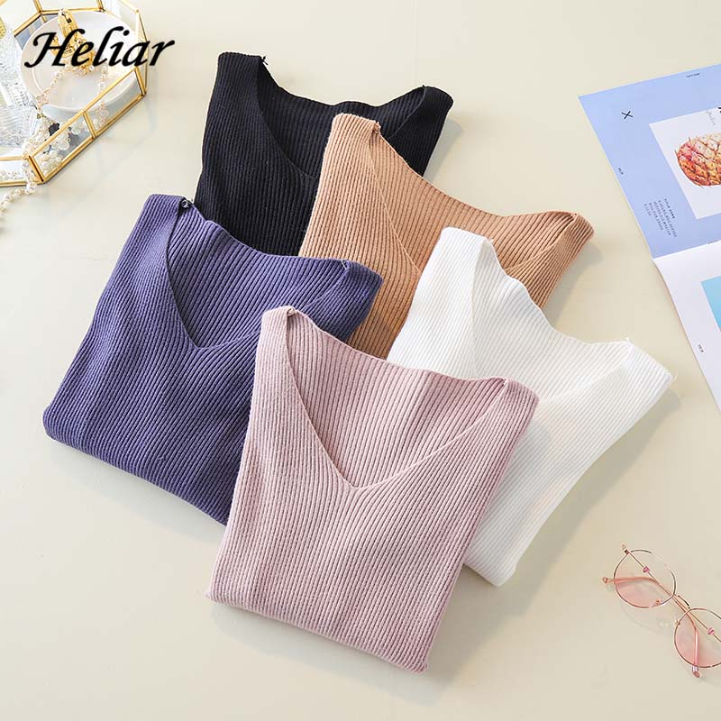 Heliar 2019 Autumn Winter Women Knitted V-neck Sweater Casual Soft Plain Jumper Fashion Slim Femme Elastic Female  Pullovers
