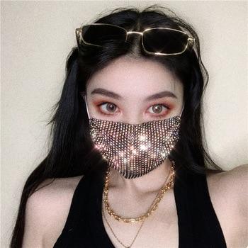 2020 Women Metal shiny diamond face mask Bling Rhinestone Mask Sexy night Club Party mask Festival Carnival Wild Jewelry Mask