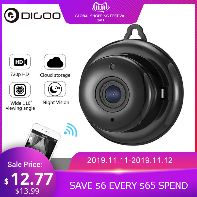 DIGOO DG-MYQ 2.1mm Obiettivo 720P Wireless Mini WIFI Visione notturna Smart Home Security Telecamera IP Monitor Onvif Baby Monitor