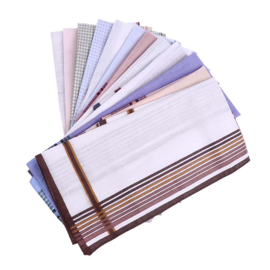 Pack Of 12pcs Hankerchief Scarves Vintage Cotton Hankies Men Pocket Square Handkerchiefs Mixed Color