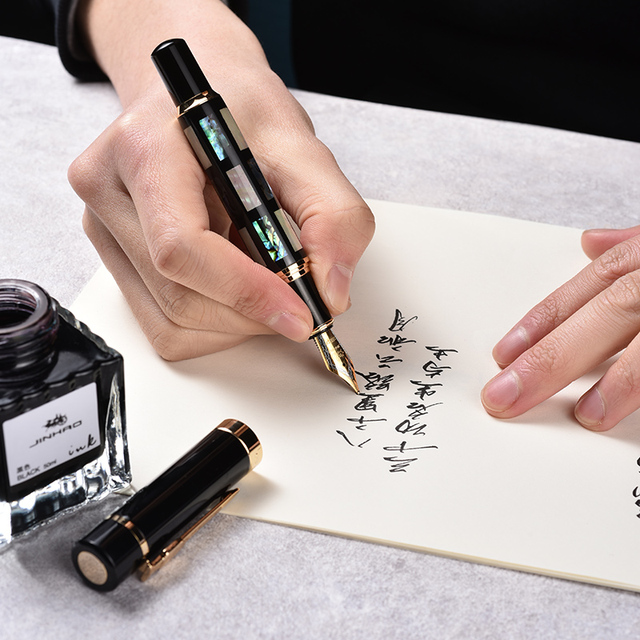 JINHAO 650 또는 8802 고품질 만년필 고급 쉘 서예 잉크 펜 Mb 또는 1.0MM 펜촉 caneta tinteiro