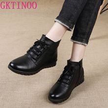 GKTINOO Genuine Leather Shoes Woman Winter Boots 2020 Womens Ankle Boots Flat With Zip Fur Botas Mujer Female Retro Shoes