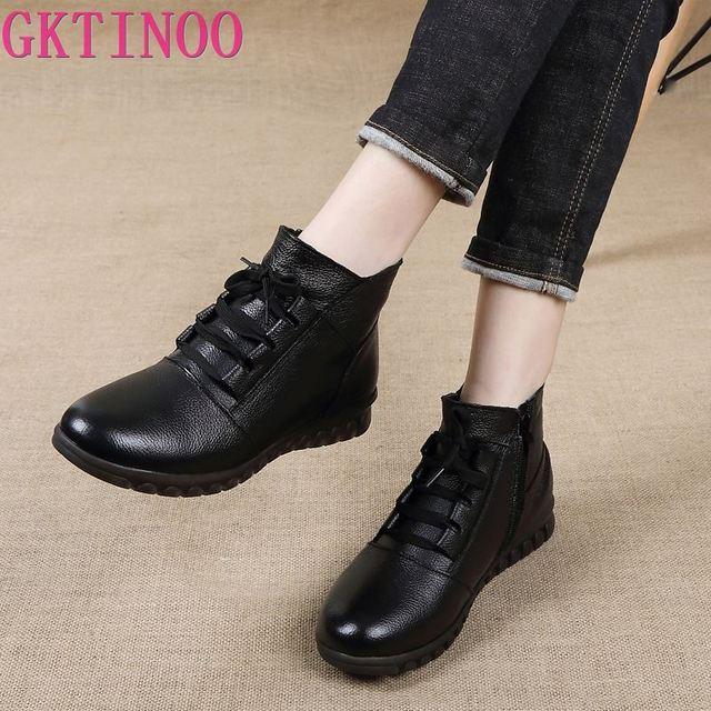 Gktinoo botas de couro legítimo femininas, botas de inverno, cano curto, com zíper, retrô, 2020 sapatos com calçados