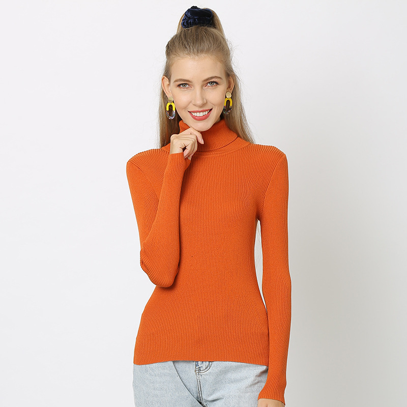 Women Simple Bottoming Sweater Autumn Winter Ladies Knitted Pullover Turtleneck Full Sleeve Slim Jumpers Plain Color Pull Femme