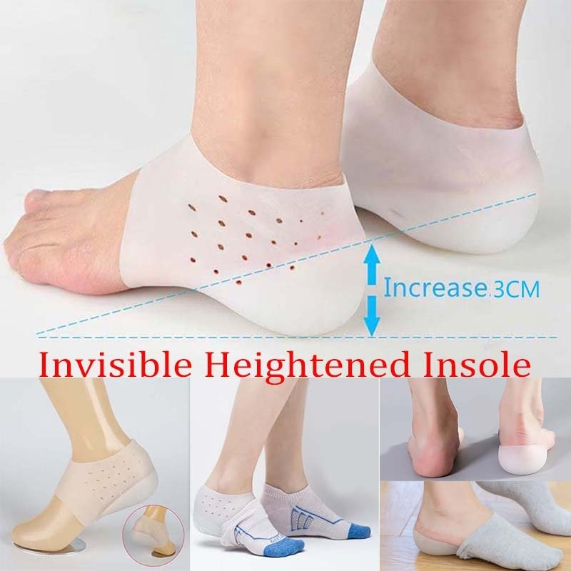 1 Pair Unisex Invisible Insoles Heel Gel Pad Height Increase Silicone Breathable Insert Foot Massage Support Lifting Heel Cups