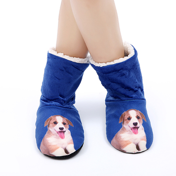 Christmas Indoor Socks Shoes Winter Shoes Woman Fur Sides Female Animal Prints Slipper Plush Insole Home Slippers