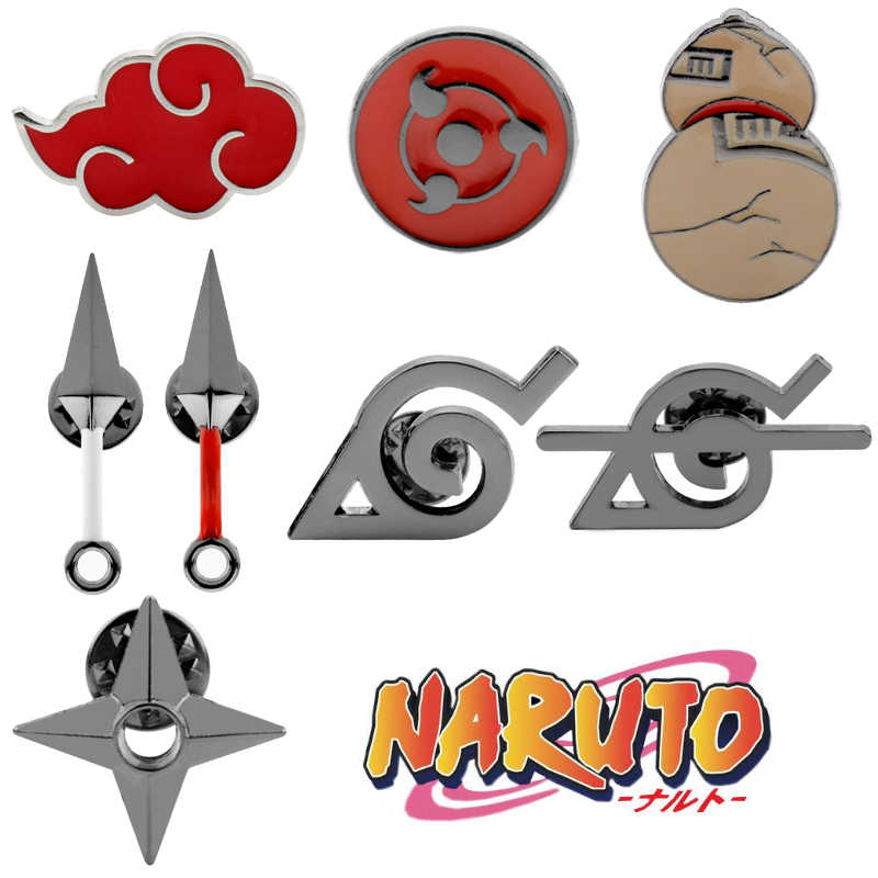Naruto Broche Emaille Pin Anime Wapen Model Akatsuki Red Cloud Badges Broches Pins Vrouwen Mannen Revers Pin Sieraden Gift