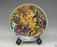 Hermoso chino coleccionables decoración antigua hecha a mano porcelana dibujo pájaros y plato de Fénix