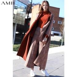 Amii hiver femmes Plaid laine deux pièces ensemble élégant ample Double face manteau et pantalons longs 11880095