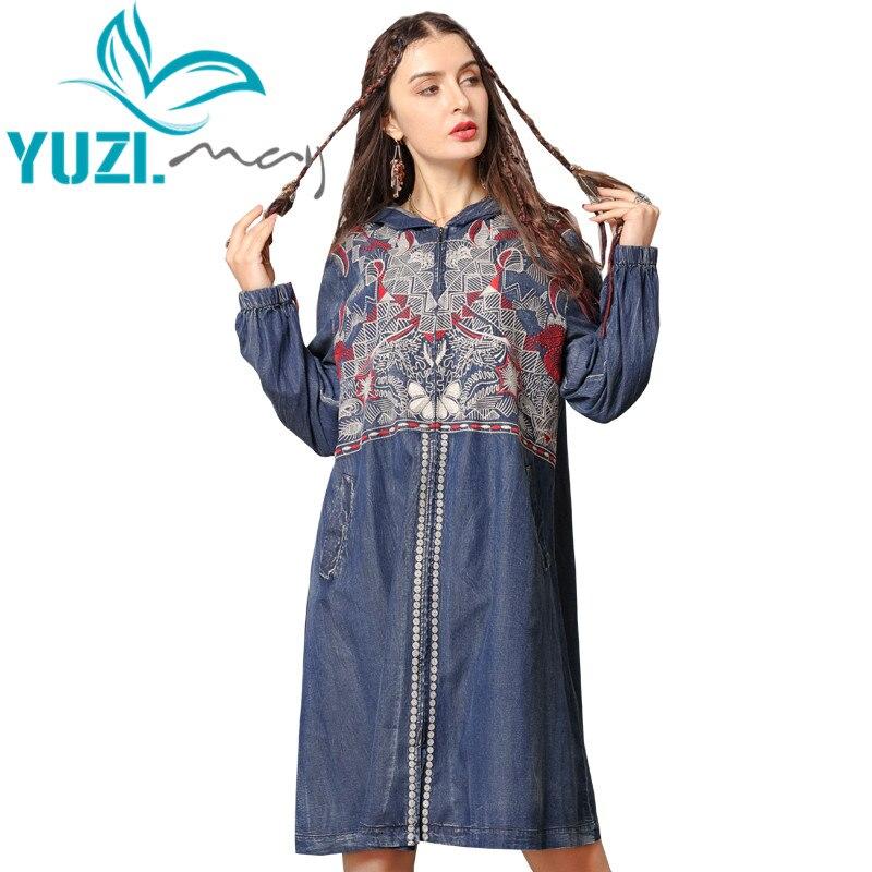 Trench Coat 2019 Yuzi.may Boho New Denim Coat Women Hooded Vintage Embroidery Zipper Long Coats B9286 Casaco Feminino