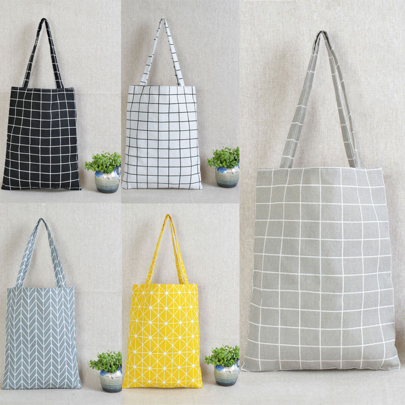 Fashion Reusable Shopping Canvas Tote Bag Women Cotton Linen Single Shoulder Bags Check Plaid Female Flax Grocery Bag