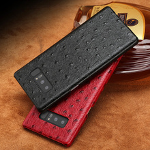 Cowhide Phone Cases For Samsung Galaxy S6 S7 S8 S9 S10 Plus Ostrich Texture Case For Note 8 9 A5 A7 A8 2018 J3 J5 J7 2017 case luxury flip phone case for samsung galaxy s6 s7 edge s8 s9 plus litchi texture suction cup cover for note 8 9 a5 a7 a8 j3 j5 j7