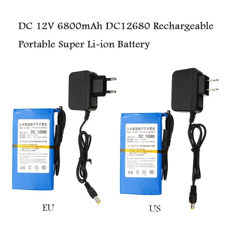High Quality Super Rechargeable Portable Lithium-ion Battery Pack DC <font><b>12V</b></font> 6800mAh DC12680 With US Plug/EU plug image