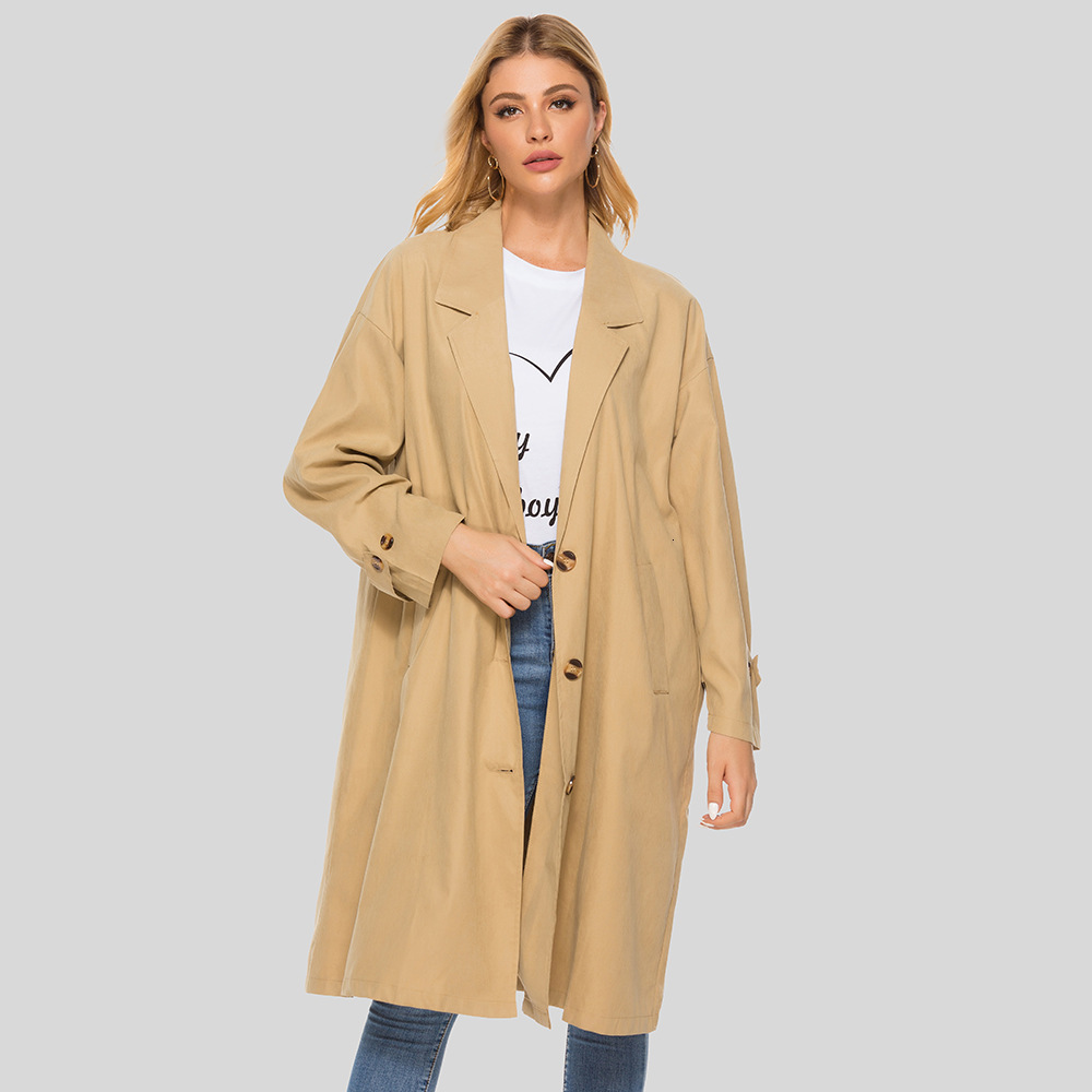 Plus Size Autumn Women Casual Baggy Long Trench Coat Ladies Lapel Triple Breasted Temperament Outwear Plain Color Moda Feminina