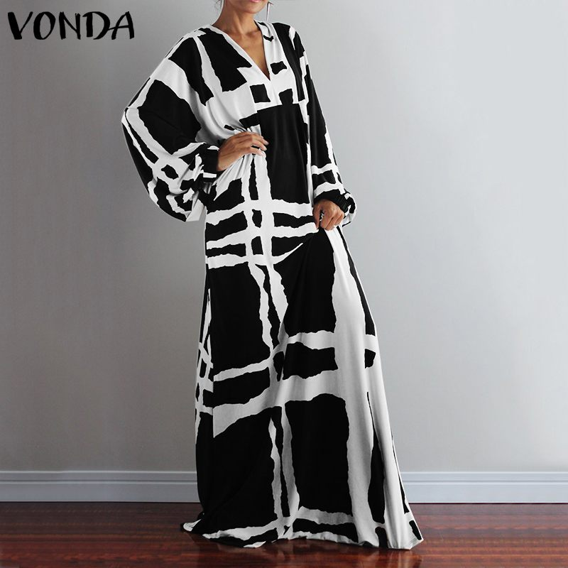 VONDA Party Dress Women Vintage  Sleeve Print Maxi Dress Office Ladies Casual Bohemian Beach Vestidos Sundress Plus Size