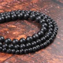 Fashion Black Turquoise  Round Beads Loose Jewelry Stone 4/6/8/10 / 12mm Suitable For Making Jewelry DIY Bracelet Necklace
