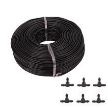 цена на 50M 4/7 Hose +25 Pcs Tee Connector Garden Irrigation System Accessories Wear Black 1/4