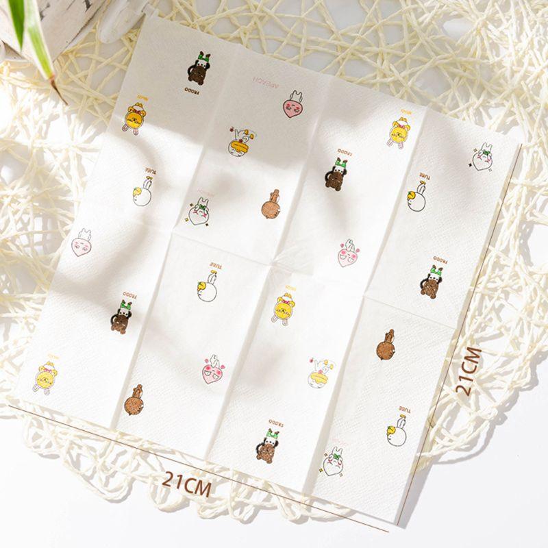 12 Packs Cartoon Napkin Paper Pattern 3-Ply Wood Pulp Facial Tissue Handkerchief