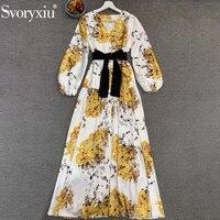 Svoryxiu Runway Designer Female Summer V Neck Print Vintage Dress Ladies Lantern Sleeve Bow Belt Elegant Party Long Dresses