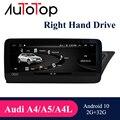 AUTOTOP Audi A4 B8 Android RHD Автомобильный мультимедийный радиоприемник Подходит для Audi A4 B8 A5 A4L правосторонний привод 2009-2016 навигация GPS плеер