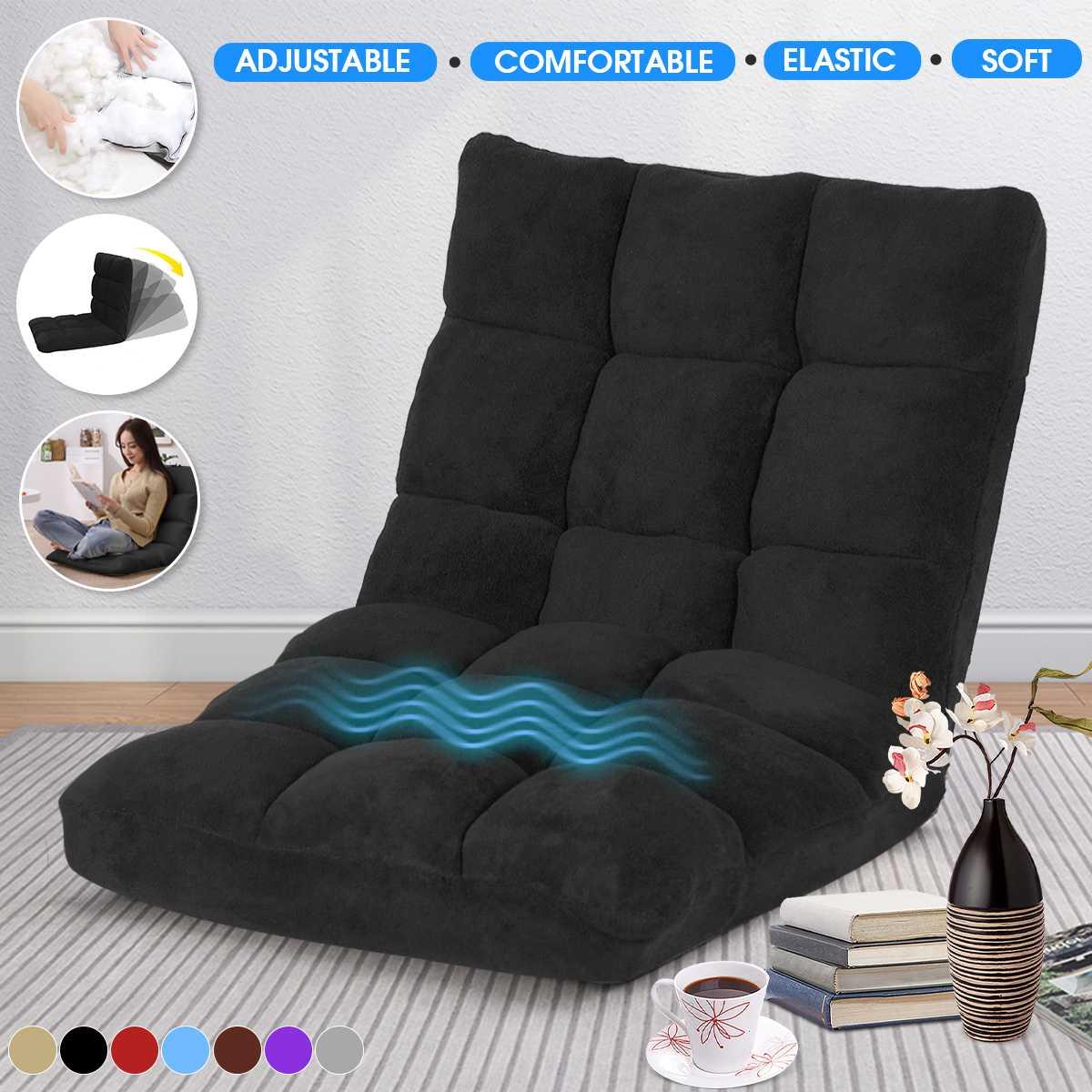 Folding Lazy Lounger Sofa Tatami Lounge Chair Floor Balcony Bay Window Leisure Legless Small Sofa Bed Back Chair Linen/Flannel|Bean Bag Sofas| - AliExpress
