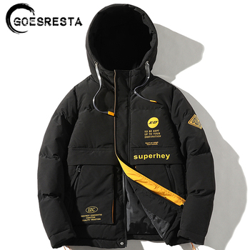 GOESRESTA 2020 Brand Winter Jacket Men Hooded Thermal Solid color cotton coat Fashion Casual Thicken Parker Jacket men Clothing puimentiua men s winter parker cotton clothing warm fashion cotton clothing jacket large fur collar hooded men s wild 2019