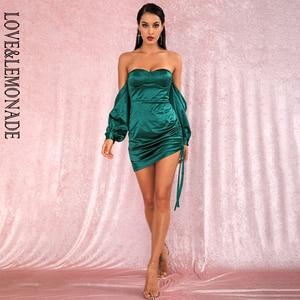 Image 2 - LOVE & limonada vestido verde sexi con hombros descubiertos, minivestido de fiesta, mangas sueltas, Ceñido