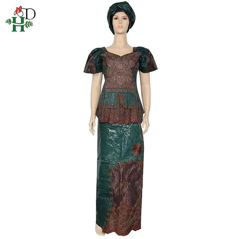H&D African Women Clothes Suit Dashiki Tops Skirts Set Rope Embroidery Bazin Riche Shirt Skirt Nigerian Headtie Wedding Robes