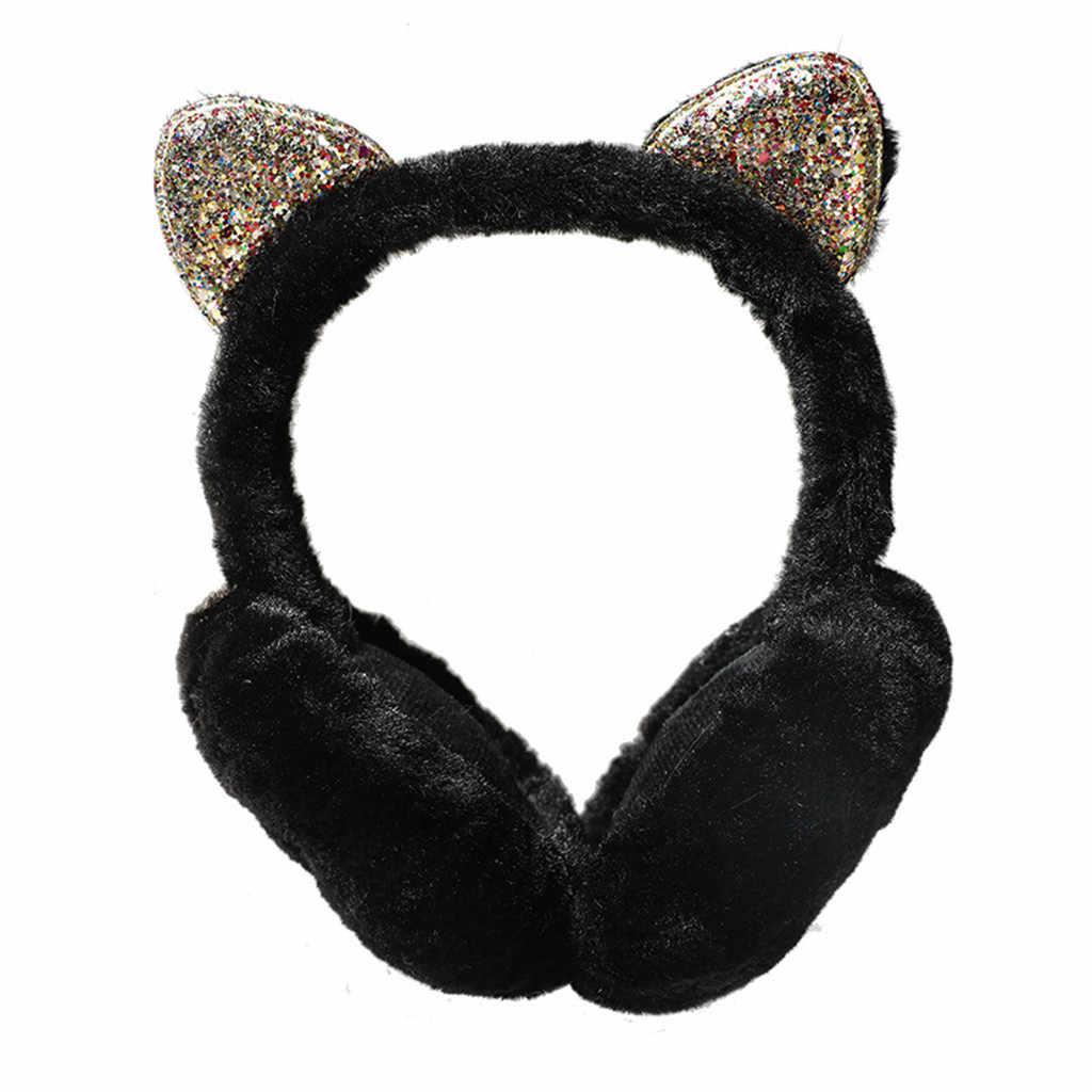 Ins moda zimowe ciepłe kobiety Cartoon kawaii stałe uszy projekt wiatroszczelne ciepłe regulowane nauszniki futerkowe pluszowe słuchawki