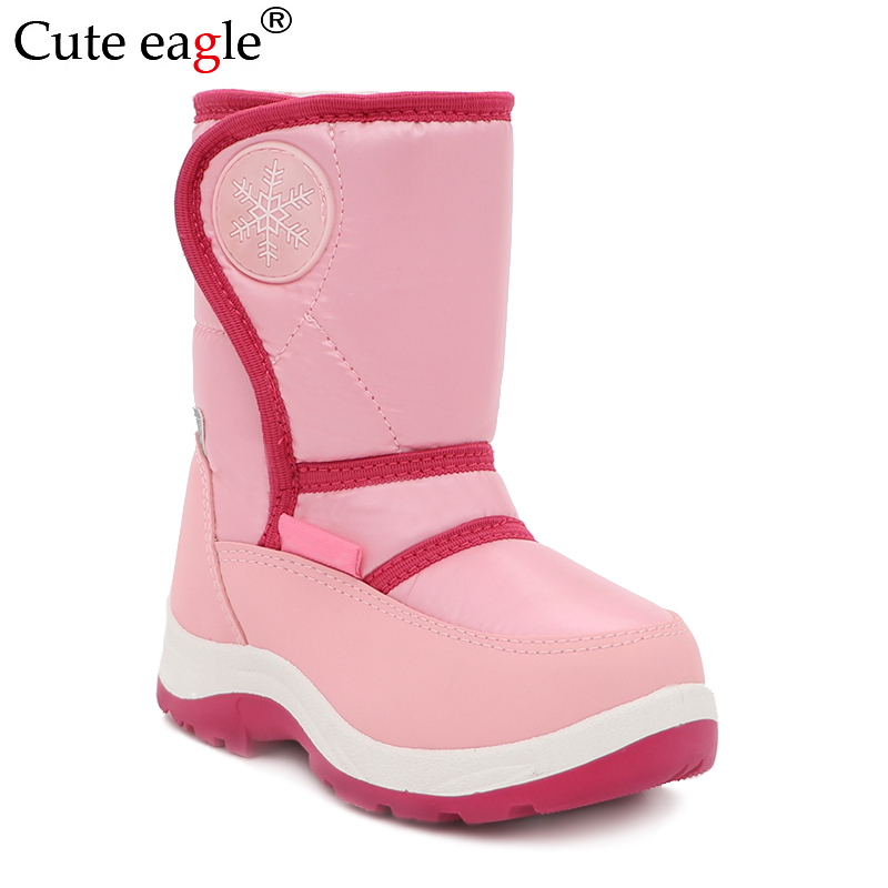 Cute Eagle Girls Winter Snow Boots Kid's Keep Warm Fashion Plush  Boots Waterproof Outdoor Movable Felt Sonwshoe Child Sneakers