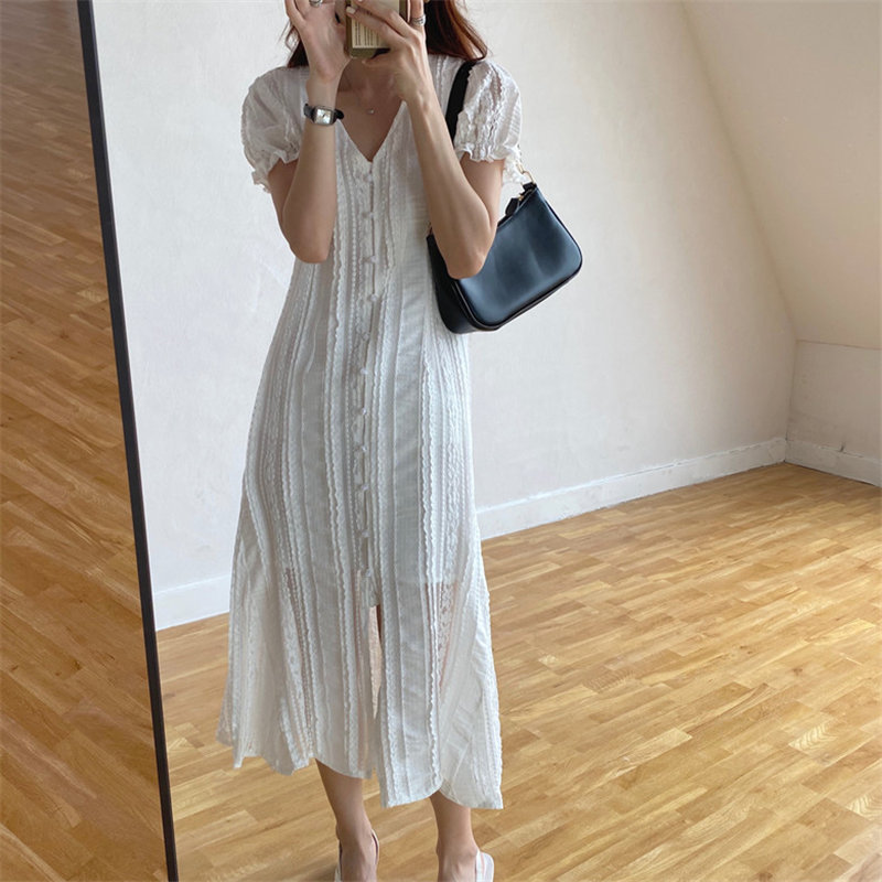 Alien Kitty V-Neck Single Breasted Lace Sweet Slim 2020 Chic Lady Hot High Waist Sexy Streetwear Summer Short Sleeves Dresses