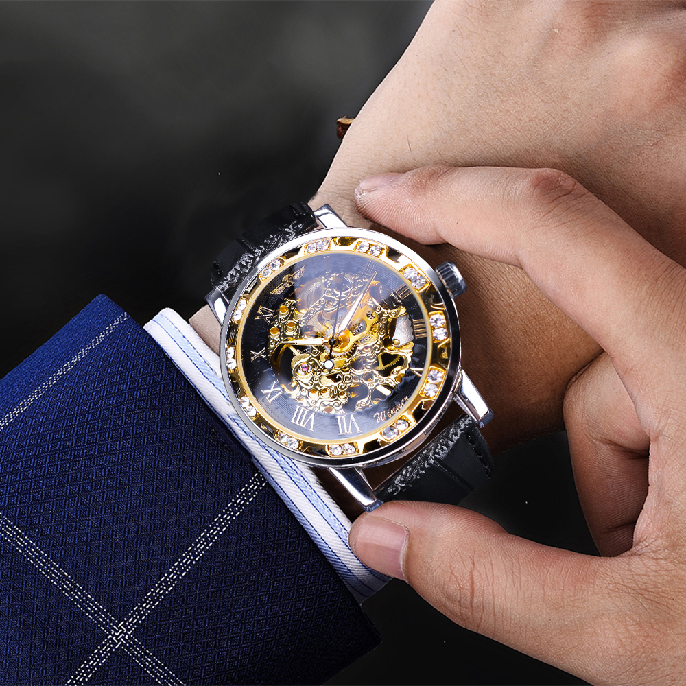 H9c7d19044d6f43b4ba7df1b33febb070p Winner Black Golden Retro Luminous Hands Fashion Diamond Display Mens Mechanical Skeleton Wrist Watches Top Brand Luxury Clock