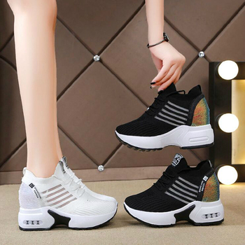 NEW Autumn Knitting Fashion Sneakers Women Hide Heels Casual Shoes Woman Breathable Platform Sneakers Wedge Shoes W406 1