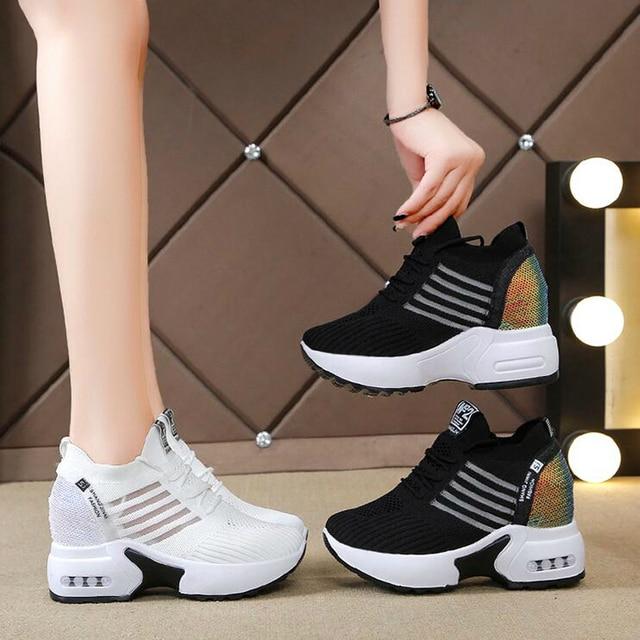 ฤดูใบไม้ร่วงใหม่ถักรองเท้าผ้าใบแฟชั่นผู้หญิงซ่อนรองเท้าส้นสูงรองเท้าผู้หญิงBreathable Platformรองเท้าผ้าใบWedgeรองเท้าW406